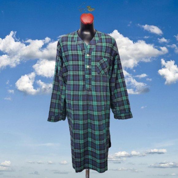Vintage SAVILE ROW Plaid Flannel Nightshirt Cotton